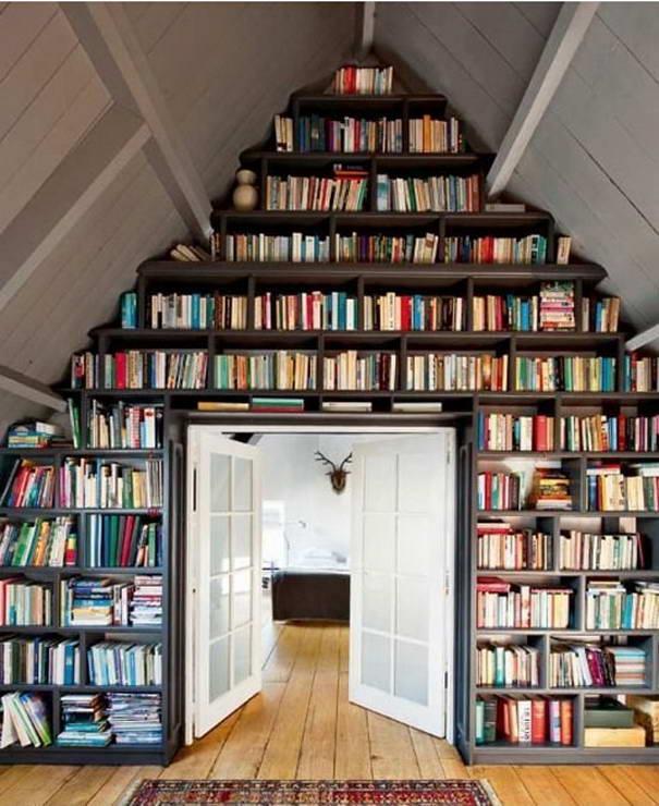 Wonderful Triangle Creative Bookshelves Design