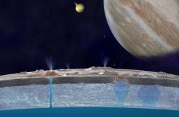 Grafika przedstawiająca ocean pod lodową powierzchnią Europy