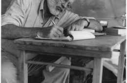 ernest hemingway writing at campsite in kenya   nara