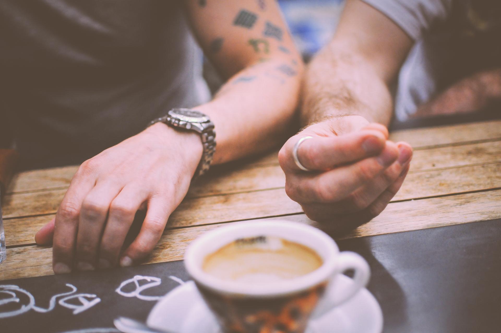 restaurant hands people coffee